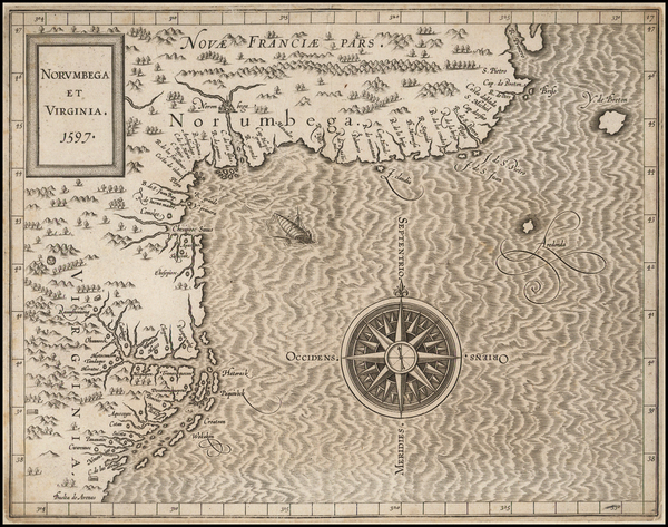 5-New England, Mid-Atlantic and Canada Map By Cornelis van Wytfliet
