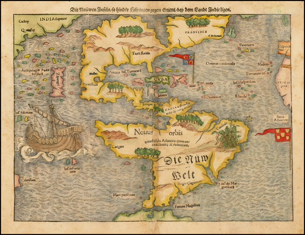 36-South America and America Map By Sebastian Munster