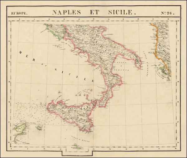 43-Italy, Southern Italy and Balearic Islands Map By Philippe Marie Vandermaelen