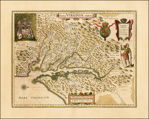 64-Mid-Atlantic and Southeast Map By Willem Janszoon Blaeu