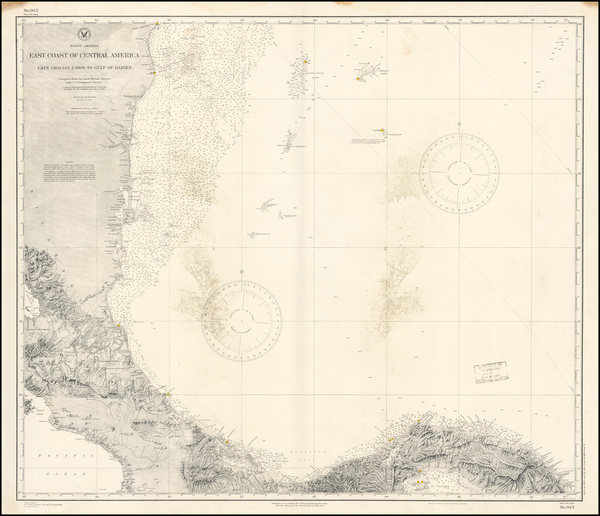 27-Central America Map By U.S. Coast & Geodetic Survey