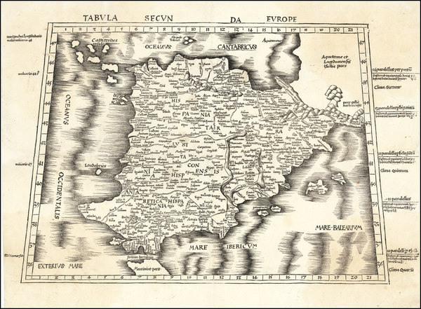 Spain and Portugal Map By Martin Waldseemüller