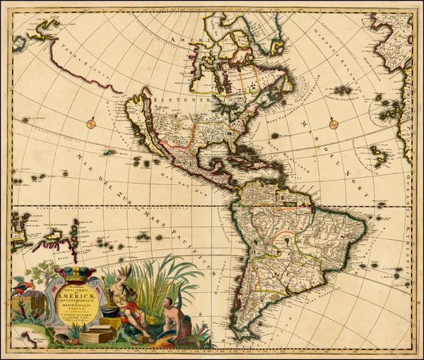 28-South America, California and America Map By Carel Allard