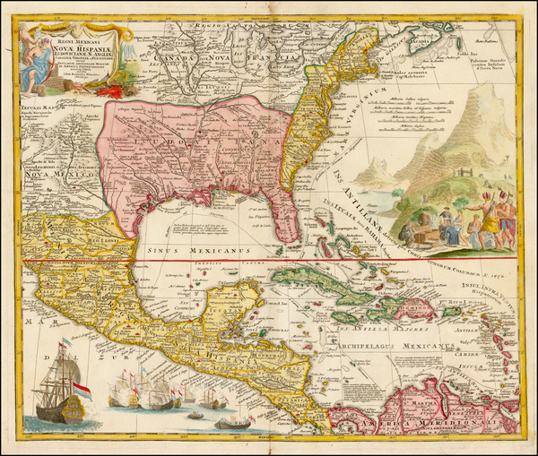 46-United States, South, Southeast, Texas, Midwest and Southwest Map By Johann Baptist Homann