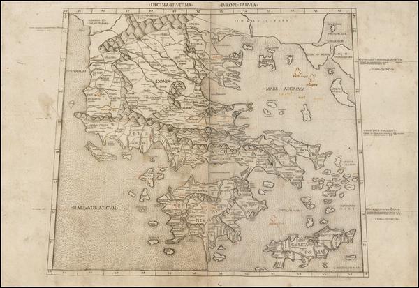 50-Greece Map By Claudius Ptolemy / Conrad  Swenheym