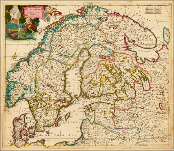 75-Russia, Baltic Countries and Scandinavia Map By Justus Danckerts