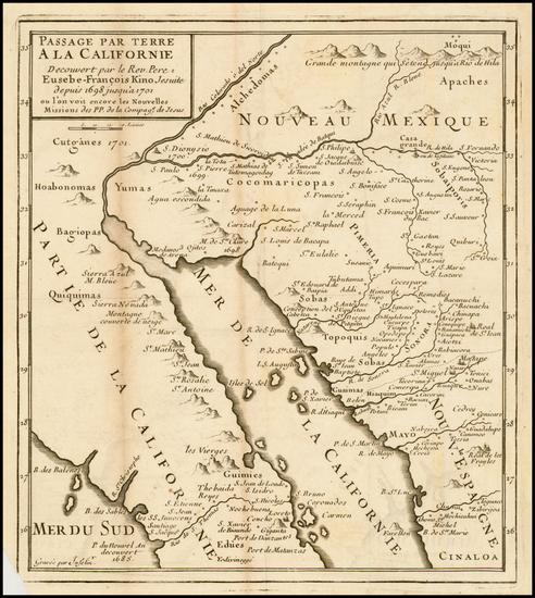 47-Southwest, Mexico, Baja California and California Map By Fr. Eusebio Kino / Inselin