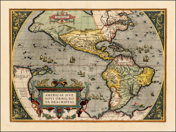 9-Western Hemisphere, North America, South America and America Map By Abraham Ortelius