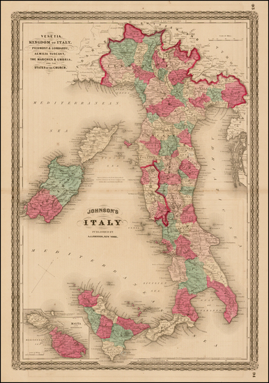 2-Italy and Balearic Islands Map By Alvin Jewett Johnson