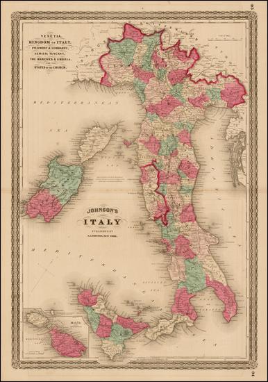 30-Italy and Balearic Islands Map By Alvin Jewett Johnson