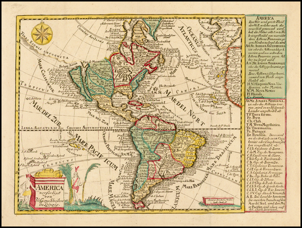 15-South America and America Map By Johann George Schreiber