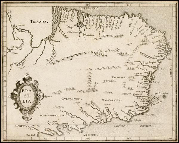 15-Brazil Map By Cornelis van Wytfliet