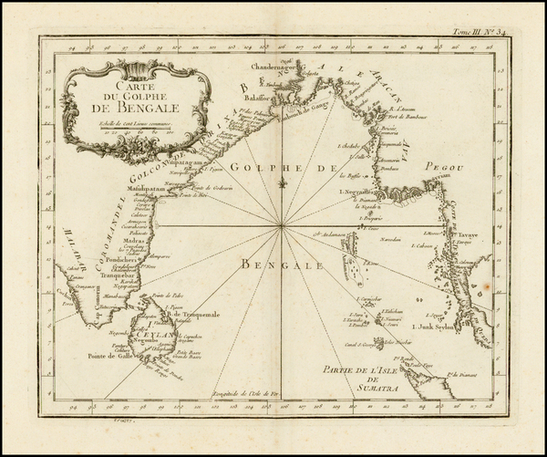 46-India and Southeast Asia Map By Jacques Nicolas Bellin
