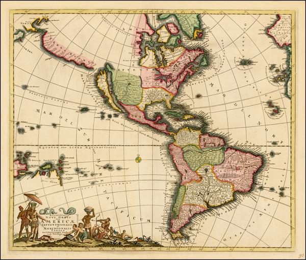 57-South America, Australia, Oceania, California and America Map By Justus Danckerts