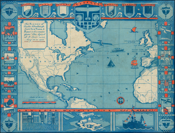 45-Atlantic Ocean, United States, North America, South America, Curiosities and America Map By Ano