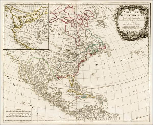 46-United States, Alaska and North America Map By Gilles Robert de Vaugondy