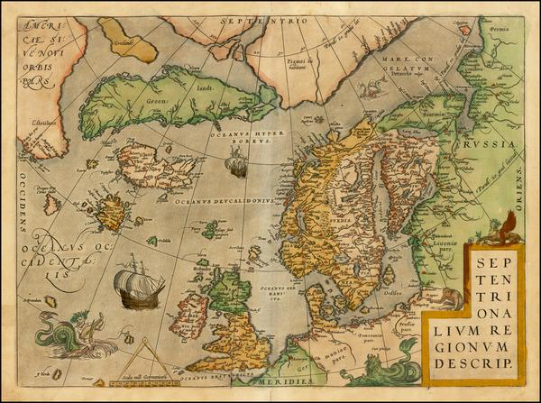 23-Atlantic Ocean, British Isles, Scandinavia and Balearic Islands Map By Abraham Ortelius