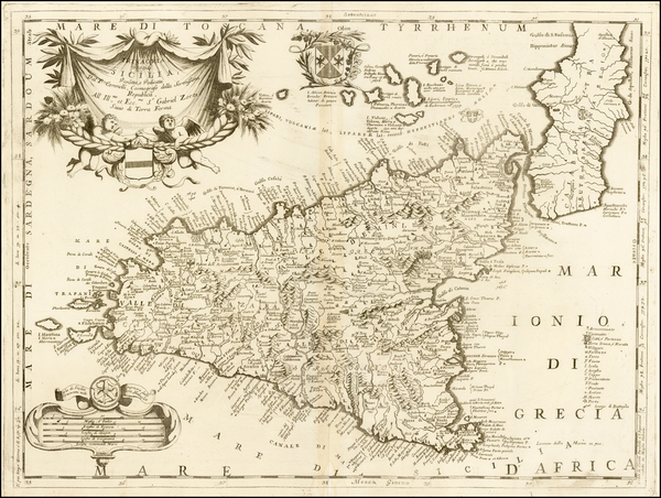 99-Italy, Southern Italy, Balearic Islands and Sicily Map By Vincenzo Maria Coronelli