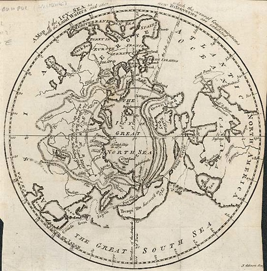 12-World, Northern Hemisphere, Polar Maps, Alaska and Canada Map By Gentleman's Magazine