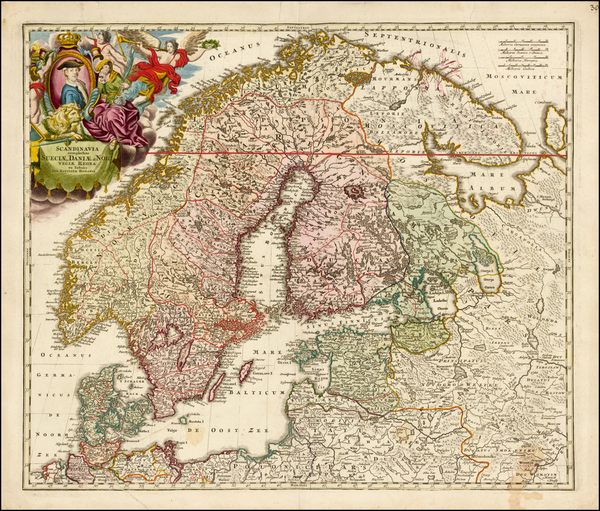 88-Russia, Baltic Countries and Scandinavia Map By Homann Heirs