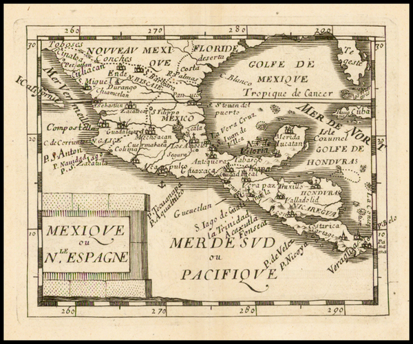 85-Mexico, Baja California, Central America and California Map By Pierre Du Val