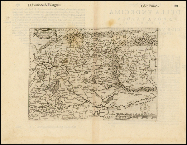 Hungary and Romania Map By Girolamo Ruscelli