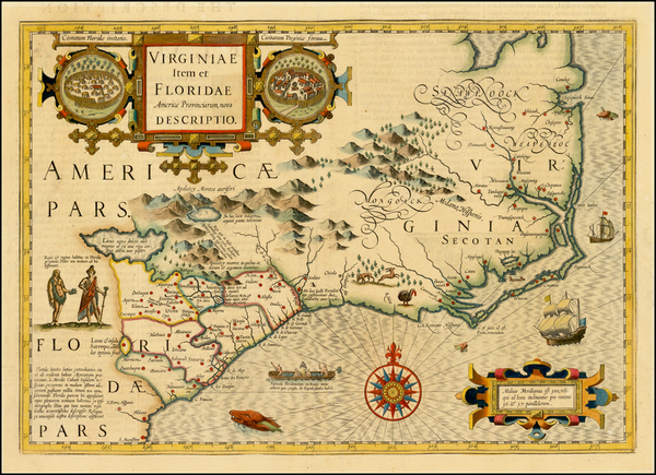 83-Mid-Atlantic and Southeast Map By Jodocus Hondius