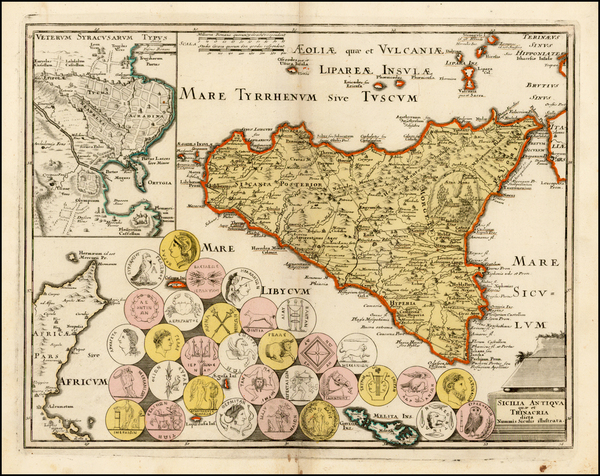 78-Italy, Balearic Islands and Sicily Map By Johann Christoph Weigel