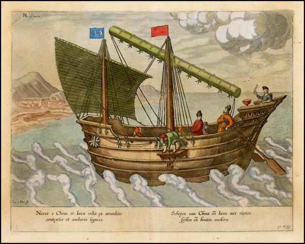 51-China, Southeast Asia and Other Islands Map By Jan Huygen van  Linschoten