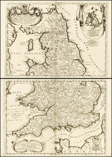 67-England Map By Vincenzo Maria Coronelli