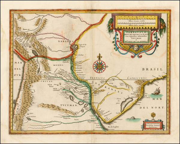 32-South America and Paraguay & Bolivia Map By Jodocus Hondius
