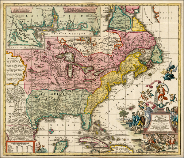 58-South, Southeast, Texas, Midwest and North America Map By Matthaus Seutter