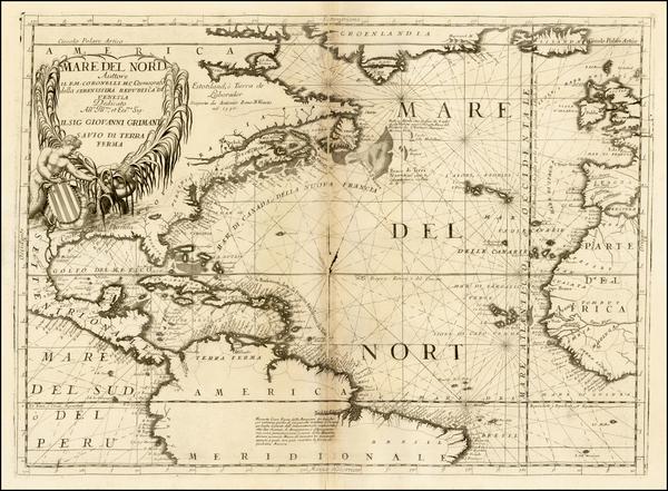48-Atlantic Ocean, North America, South America and America Map By Vincenzo Maria Coronelli