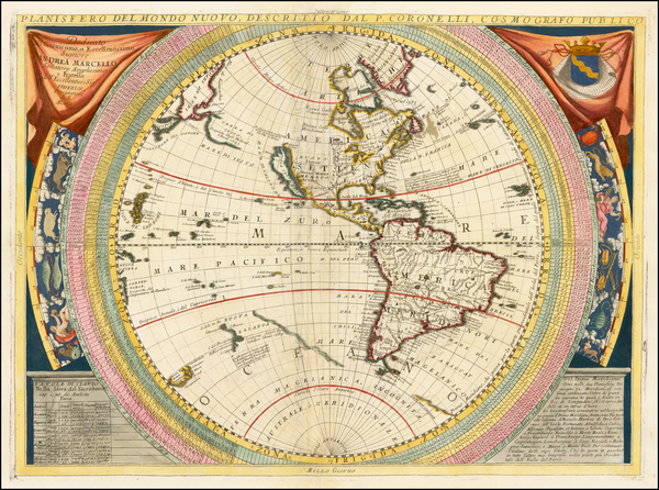 22-Western Hemisphere, North America, South America, Pacific and America Map By Vincenzo Maria Cor