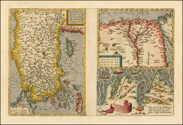 1-Turkey & Asia Minor, Egypt and North Africa Map By Abraham Ortelius