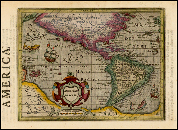 86-Western Hemisphere, South America and America Map By Jodocus Hondius -  Gerard Mercator