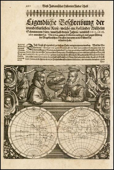 12-World, World, Title Pages and Portraits & People Map By Willem Janszoon Blaeu / Willem Scho
