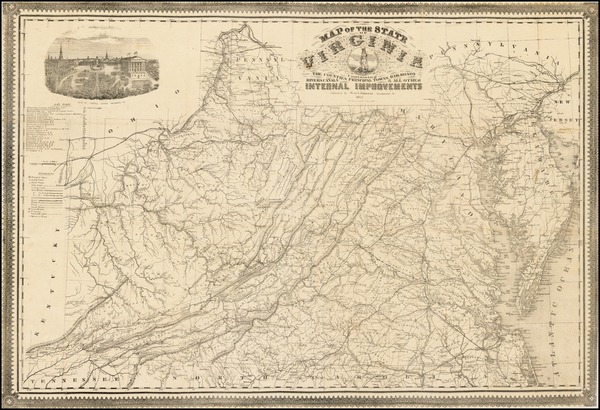 39-Mid-Atlantic, Southeast and Virginia Map By West & Johnston