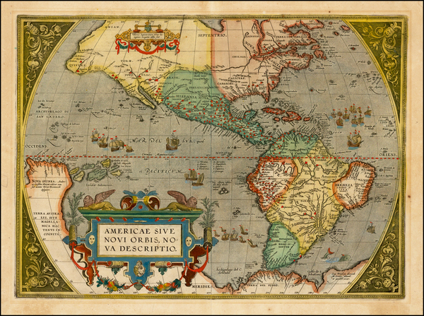 89-Western Hemisphere, North America, South America and America Map By Abraham Ortelius
