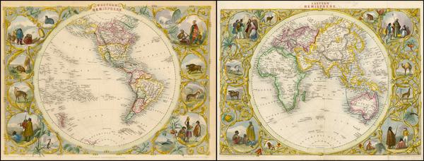 52-World, Eastern Hemisphere, Western Hemisphere, South America and America Map By John Tallis