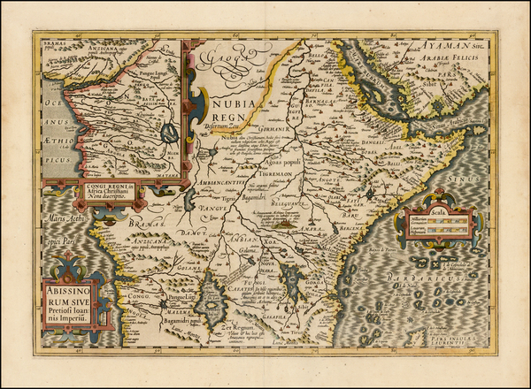 13-Africa, East Africa and West Africa Map By Jodocus Hondius