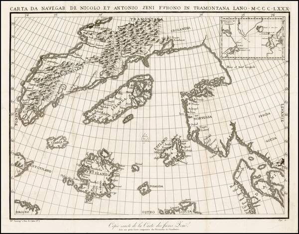 59-Polar Maps, Atlantic Ocean, Canada, Scandinavia and Balearic Islands Map By Nicolo Zeno