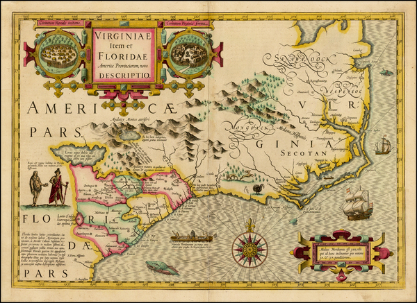 49-Mid-Atlantic and Southeast Map By Jodocus Hondius
