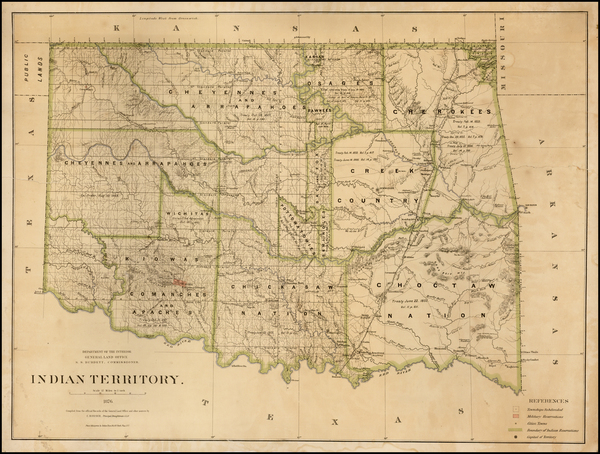 21-Plains and Oklahoma & Indian Territory Map By General Land Office