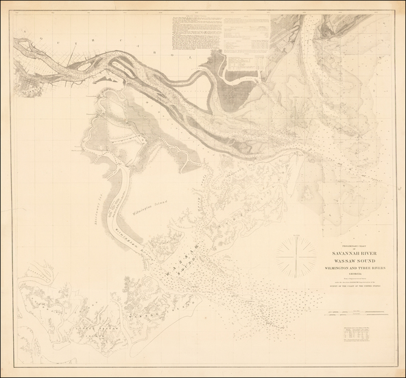 96-Southeast, Georgia and Civil War Map By United States Coast Survey