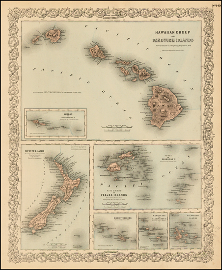 98-Hawaii, New Zealand, Hawaii and Other Pacific Islands Map By G.W.  & C.B. Colton