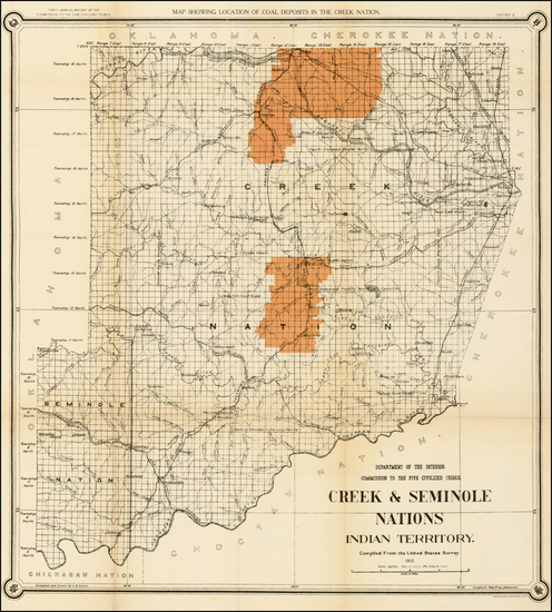 54-Plains and Oklahoma & Indian Territory Map By United States Department of the Interior