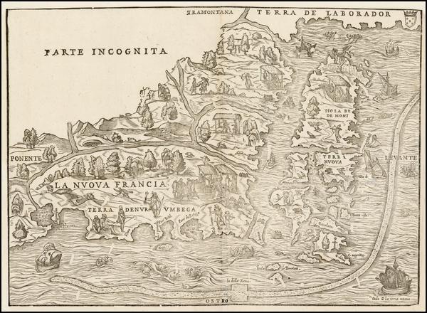 86-New England and Canada Map By Giovanni Battista Ramusio / Giacomo Gastaldi