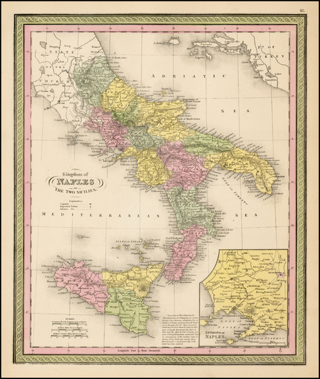 28-Italy and Balearic Islands Map By Samuel Augustus Mitchell