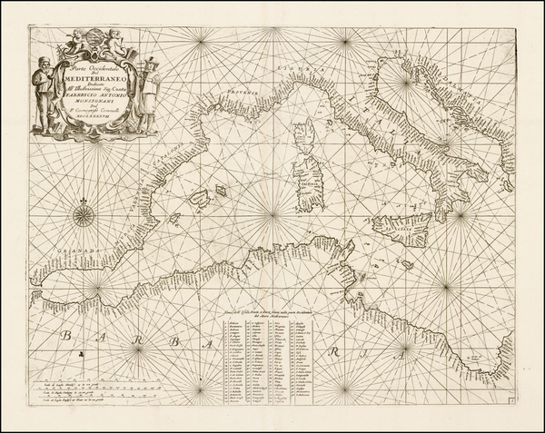 95-Mediterranean Map By Vincenzo Maria Coronelli